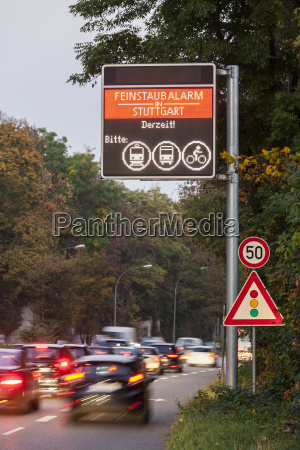germany stuttgart warning sign for particulate
