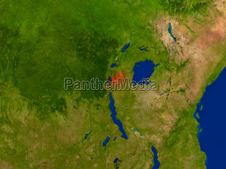rwanda from space in red