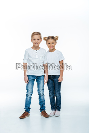 smiling brother and sister