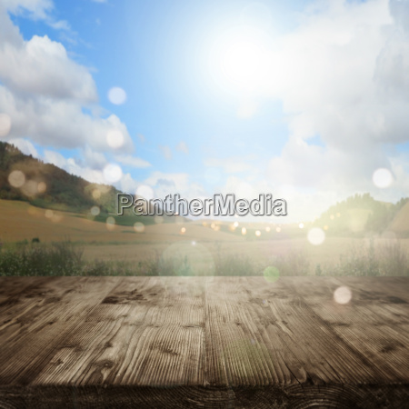 spring landscape with sun and bokeh