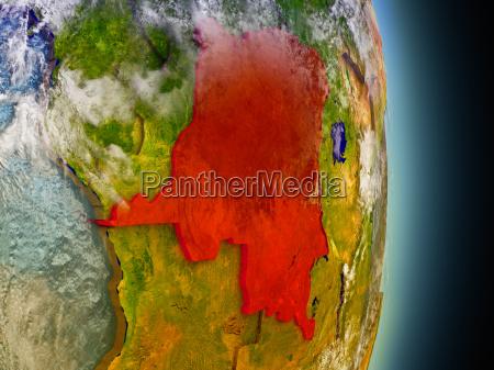 democratic republic of congo in red