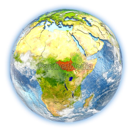 south sudan on earth isolated