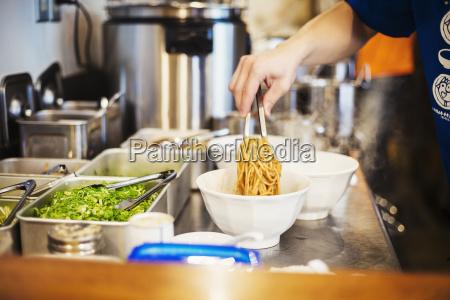 a ramen noodle shop kitchen a