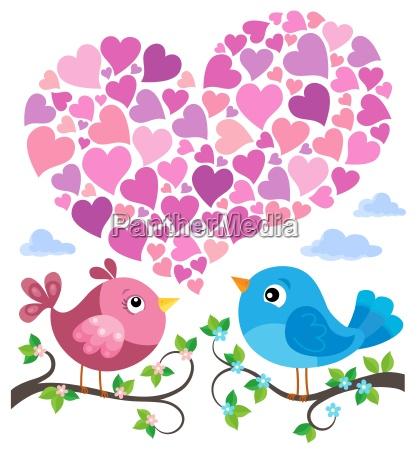 valentine birds with heart shape theme