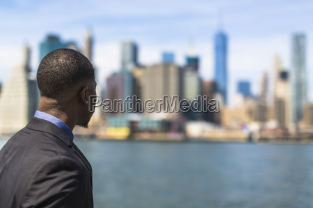 usa brooklyn back view of businessman