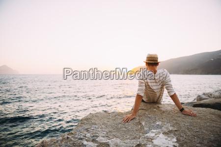 greece cylcades islands amorgos man enjoying