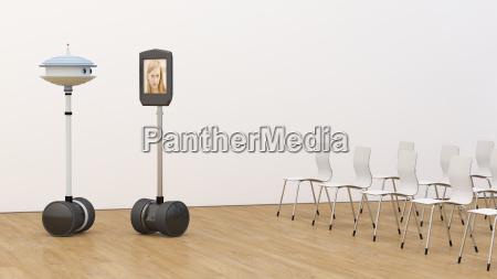 woman on tablet screen in empty