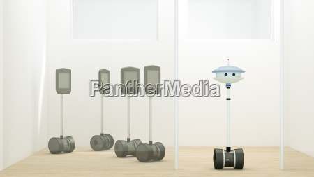 robots on standby in storeroom
