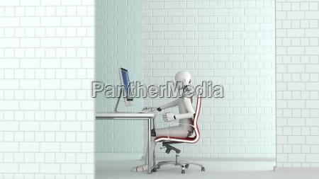 robot working at desk 3d rendering