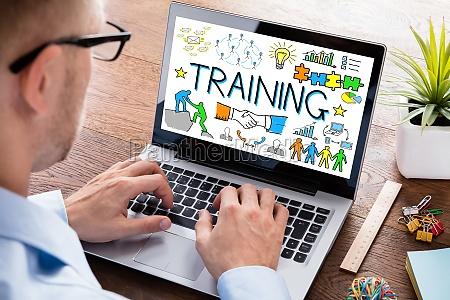training concept on laptop