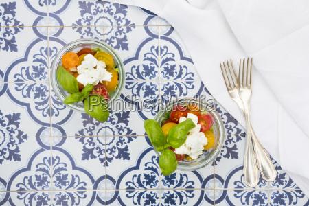 teo glasses of leaf salad with