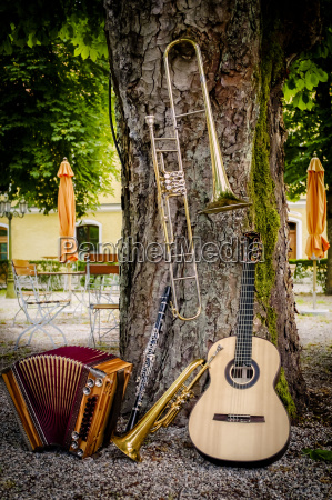 various musical instruments leaning at tree