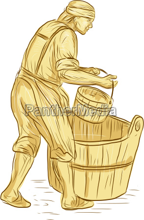 medieval miller with bucket drawing