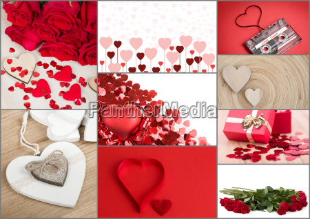 valentine heart collection collage love concept