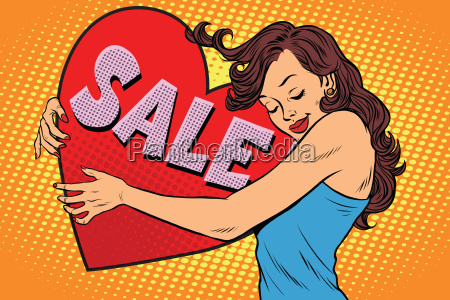 beautiful young woman hugging sale valentine
