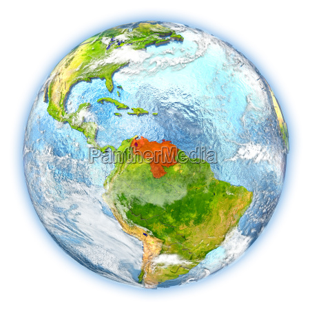 venezuela on earth isolated