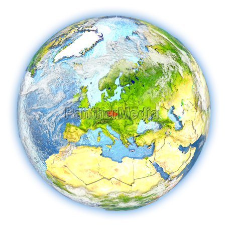 czech republic on earth isolated