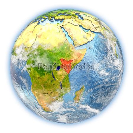 kenya on earth isolated