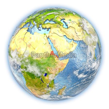 eritrea on earth isolated