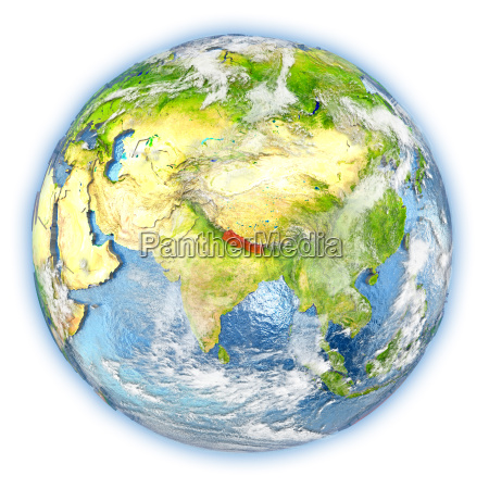 nepal on earth isolated