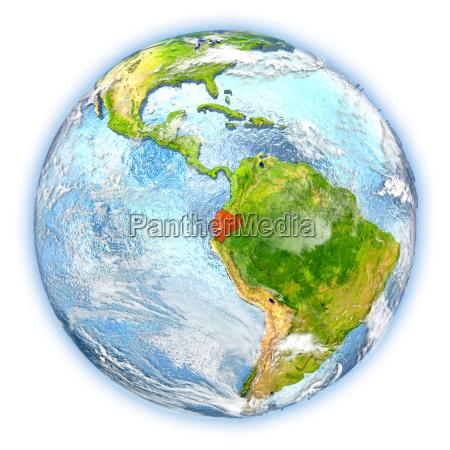 ecuador on earth isolated