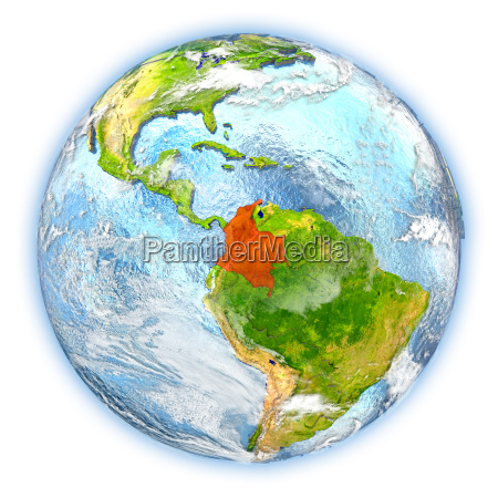 colombia on earth isolated