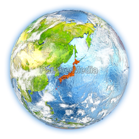 japan on earth isolated