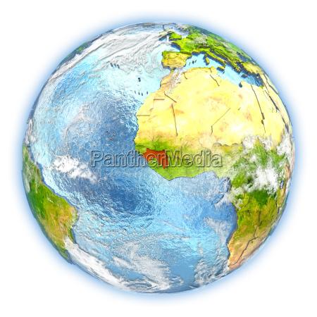 guinea on earth isolated
