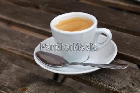 espresso coffee in white cup close