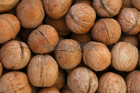 whole walnuts in nutshells close up