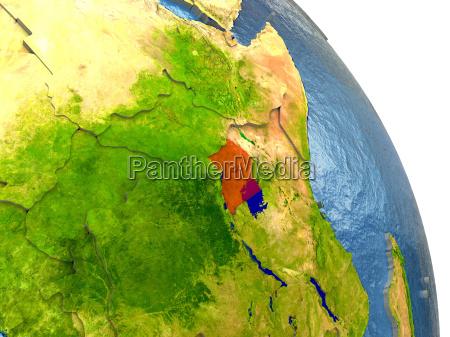 uganda on earth in red