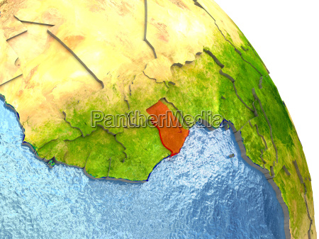 ghana on earth in red