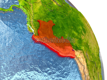 peru on earth in red