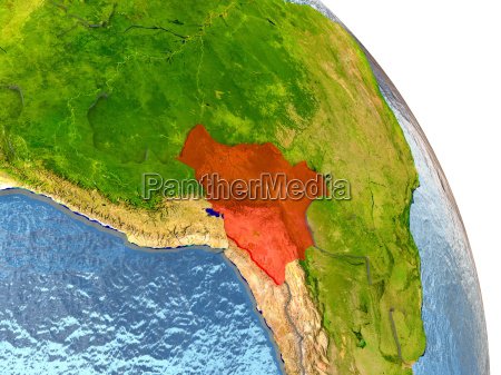 bolivia on earth in red