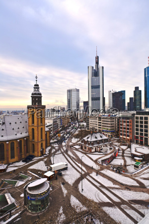 view to skyline of frankfurt with