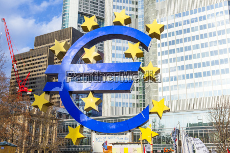 famous euro sign in frankfurt am