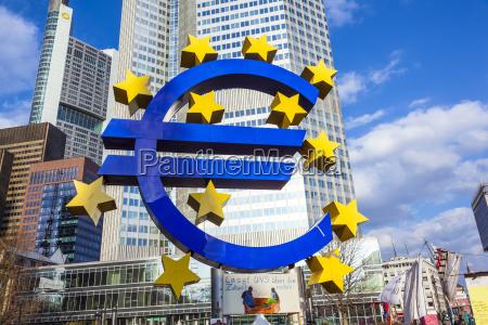 famous euro sign in frankfurt