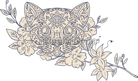 cat head jasmine flower mandala