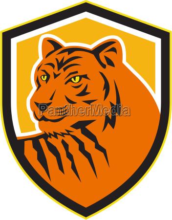 tiger head front crest retro