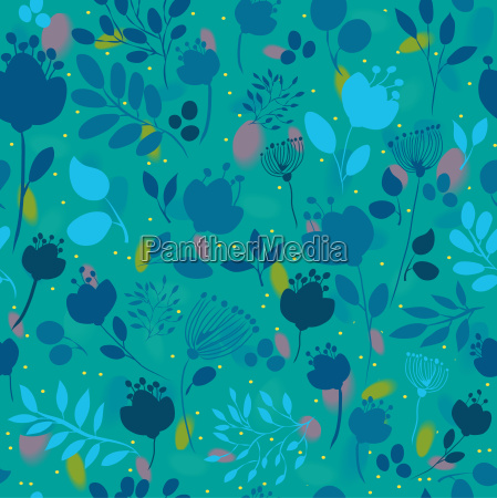 spring night flowers floral seamless pattern