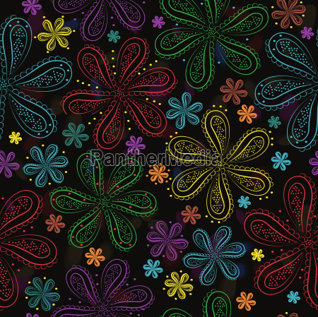 summer night flowers floral seamless pattern