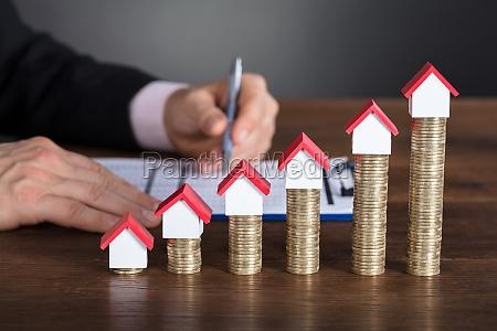 close up of a businessman calculating