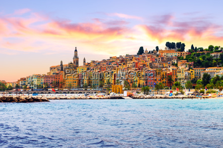 colorful old town menton on french