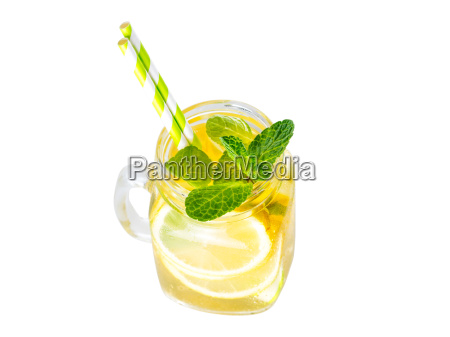 lemonade with mint in mason jar