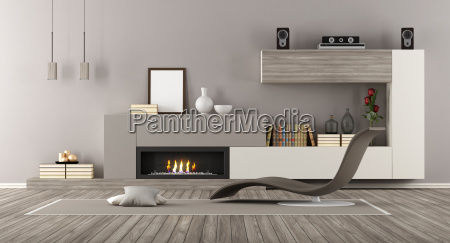 modern lounge with fireplace