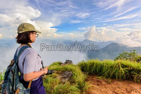 tourist teen girl on phu chi