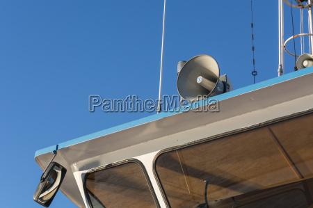 megaphone on a boat roof megaphones