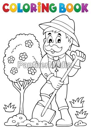 coloring book gardener planting tree