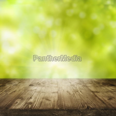 spring background with empty table