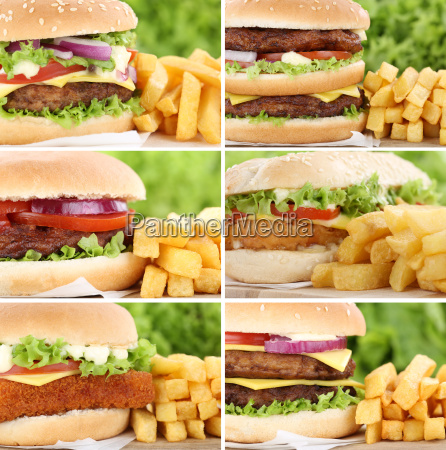 hamburger collage collection cheeseburger with french